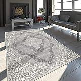 Paco Home Tapis Oriental Moderne Effet 3D Chiné Scintillant Ornements Gris Blanc,...