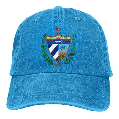 ONGH Hommes Femmes Casquette de Baseball en Denim Teint en Fil Vieilli Casquette de Camionneur emblème National de Cuba