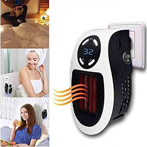Calefactor eléctrico, mini calefactor portátil, ventilador de aire con mando a distancia potente, 500 W, regulable, ahorro para cuarto de baño, salón o oficina