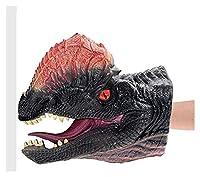 パペット人形玩具 柔らかいビニールのゴム動物の頭の手の人形の人形図の玩具のためのグローブ子供のための恐竜の手の人形の人形の玩具 知育玩具 (Color : DoubleCrowned Dragon)