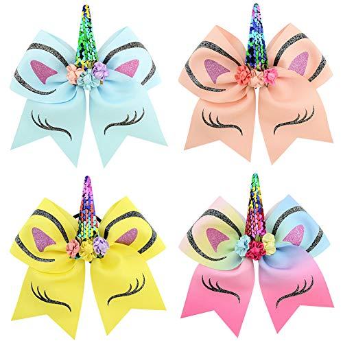 COUXILY Boutique Lot de 4 nœuds à paillettes avec ruban gros-grain pour cheveux avec attache élastique pour queue de cheval pour petite fille 17,8 cm (02)