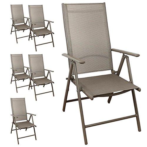 Multistore 2002 6 Stück Aluminium Hochlehner, Textilenbespannung, 7-Fach verstellbar, klappbar, Champagner Gartenstuhl Positionsstuhl Klappstuhl