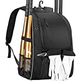 DOVODA Baseball Backpack, Softball Bat Bag with Shoe Compartment, T Ball Equipment Gear for Youth and Adults, Lightweight Baseball Bag Hold 4 Bats, Helmet, Glove, Caps, Valuables Pocket, Fence Hook