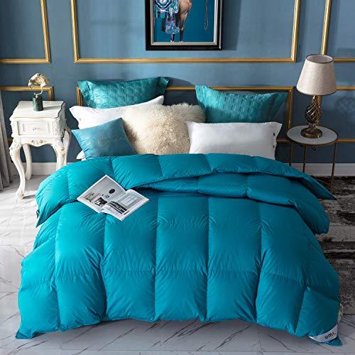 Amazon Brand - Umi Edredón de plumón de Pato 135x200cm-cama 80,Tejido 100% algodónen,100% Antideslizante, edredón de plumón hipoalergénico según Oeko-Tex STANDARD100(Azul Turquesa,Invierno)