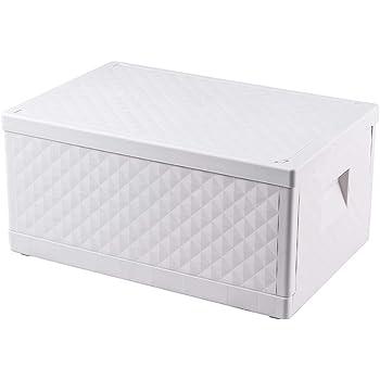 Closetique 折りたたみ収納ボックス一つ 収納 ボックス フタ付き プラスチック 超大容量55L 積み重ね 収納ケース 衣類 書類 整理ボックス 白 おしゃれ 丈夫 組み立てが簡単で 堅固である 耐久性があり