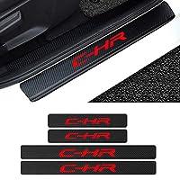 VIPGO ドアシルステッカーカーアクセサリーカーボンオートカートヨタ用スクラッチ防止ステッカーC-HRRAV4 COROLLA CAMRY VIOS YARiSロゴ付き4個/セット、8 ステッカー (Color : 2)