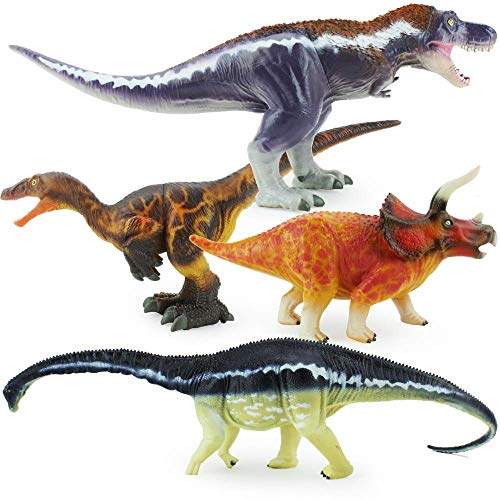 Boley 4 Pack Jumbo Authentic Dinosaur Toys, Gosnell Model - Educational Plastic Dinosaur Toy Play Set - Great As Kids Birthday Gifts and Dinosaur Party Supplies for Boys, Toddlers, and 5-6 Year Olds