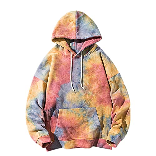 OversizeTie-dyed Men Hoodies Herbst Herren Kapuzenpullover Sweatshirts Gr. XXL, rot
