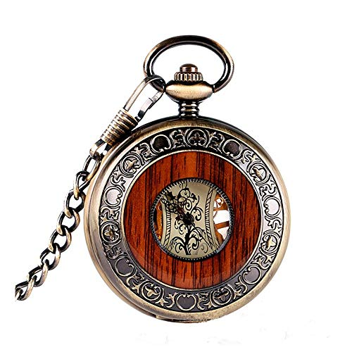 Tollmllom Klassische Taschenuhr Elegante Klassische Retro römische Manuelle mechanische Taschen-Uhr-Männer und Frauen Retro Wand-Uhr Als Kleidungsaccessoire (Farbe : Gold, Size : One Size)