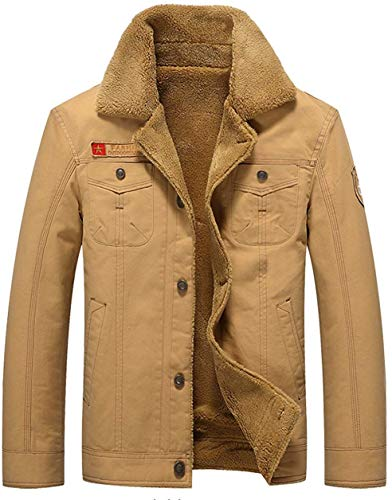 WGG Winter Mens Dikker Warm Militair Jas Parka Plus Fluwelen Gevoerde Air Force Een Outdoor Jassen UK Medium Uk1818 Khaki
