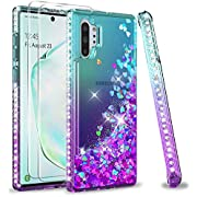 Samsung Galaxy Note 10 Plus 5G Case with 3D Curved Screen Protector [2 Pack] for Girls Women, LeYi Glitter Bling Sparkle Quicksand Flowing Clear Phone Case for Samsung Note 10 + Plus, Teal/Purple