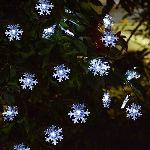 Windpnn Solar Christmas Lights Outdoor,50LED 30.6ft Waterproof Solar Christmas Snowflake String Lights