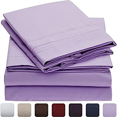 Mellanni Bed Sheet Set - HIGHEST QUALITY Brushed Microfiber 1800 Bedding - Wrinkle, Fade, Stain Resistant - Hypoallergenic - 4 Piece (King, Violet)