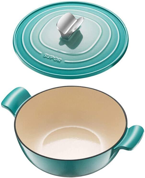 AGGF Émail Fonte Plat Épais Dutch Oven/Casserole Plat 26CM Facile À Nettoyer Cocotte Multicolore (Couleur: Rouge) Blue