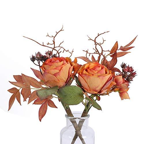 NAHUAA 2PCS Kunststoffblumen Rose Künstliche Blumen Seidenblumen Deko für Vase Tischdeko Zimmer Balkon Garten Hochzeit Dekoration Orange
