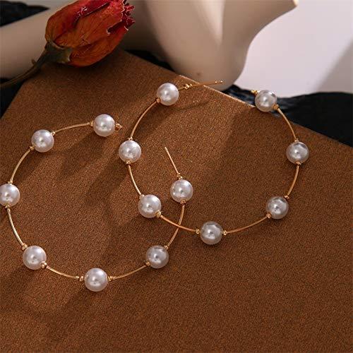 Xpwoz Pendientes de joyería de la Tendencia de simulación de Perlas Largo de Las Mujeres Pendientes Redondo Blanco Perla Pendiente de la Boda Pendientes de la Manera de Corea (Color : IPA0074 7)