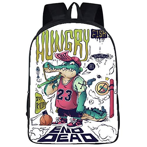 Schulranzen Cartoon-Anime-Rucksack, Reiserucksack, 90er Jahre Graffiti Mash-up Rucksack für Männer Frauen Kinder Schule 03