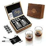ensemble-cadeau de pierres et verres à whisky, glacon reutilisable avec coffret whisky, 8 granit