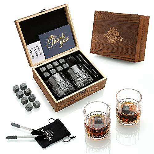 Whisky Stones Gläser Geschenkset 2 Kristall Scotch Gläser 8 Granit Chilling Rocks, Holz Geschenkbox Burbon Geschenk für Whisky Liebhaber/Männer/Weihnachten/Geburtstag/Vatertag (310ml)