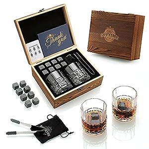 Whisky Stones Gift Set-2 Whisky Glass Set-8 Granito Chilling Whisky Rocks- Accesorios Para Mini Bar de CóCteles-Los Mejores Regalos Para Beber Para Hombres, Papá, Vacaciones, Marido
