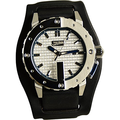 Jean Paul Gaultier Herren Analog Quarz Uhr mit Leder Armband 8500104