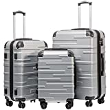 Coolife Luggage Expandable(only 28') Suitcase 3 Piece Set with TSA Lock Spinner 20in24in28in (sliver)