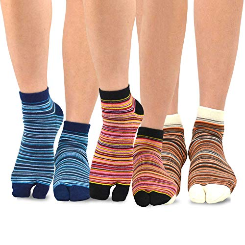 TeeHee Flip Flop Big Toe Cotton Socks 3-Pairs Pack (Mini Stripe)