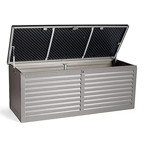 VonHaus 390L Garden Storage Box – Outdoor Utility Chest Organiser – Weatherproof Plastic, Lockable Lid, Sliding Bar Hinge, Carry Handles – for Patio, Decking, Balcony – Grey and Black