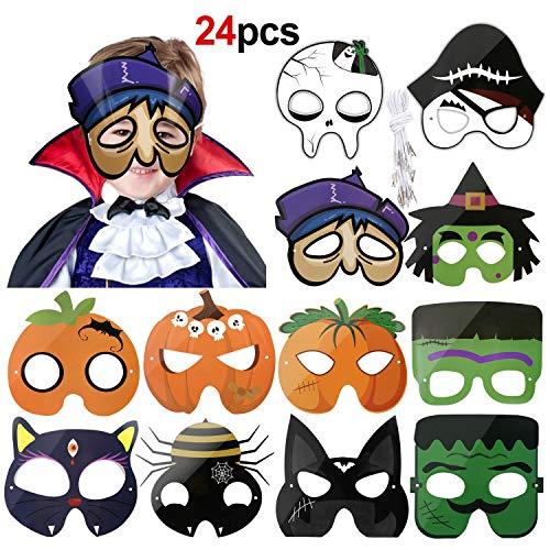 HOWAF 24 Stück Halloween Masken für Kinder, Geist Schädel Kürbis Papier Party Masken für Kinder, Halloween Cosplay Masquerade Zubehör, Halloween deko Kindergeburstag Mitgebsel