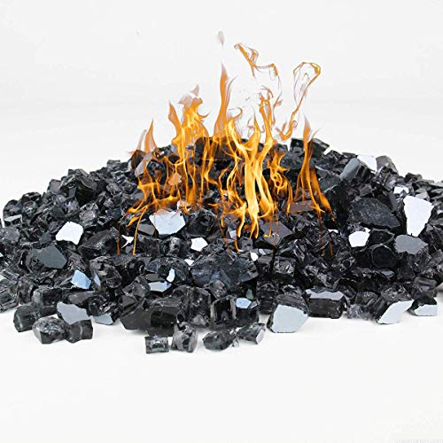 Black Fire Glass for Propane Fire Pit, 1/2 Inch 10 Pounds Reflective Tempered Fireglass Rocks for Gas Fireplace, Safe for Outdoors and Indoors Firepit Glass Fire Bowls High Luster Landscape Decoration