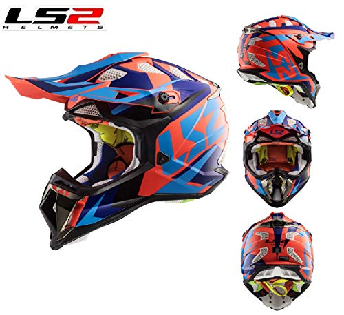Motorrad CrossHelm LS2 MX470 Subverter Nimble Motorradhelm Motocross Off-Road Quad SportHelm MX ATV Enduro Dirt Pit Bike Crash Rennhelm ECE Helm, Schwarz/Blau/Orange (S)