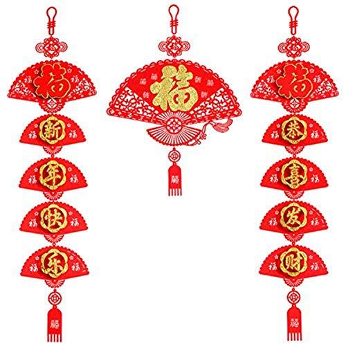 WeiX Bandera de Navidad,Coplas del Festival de,Nudo Chino Bordado Fu, Colgante de pareado del Festival de Primavera, Juego de pareados Chinos, para Decoraciones de año Nuevo