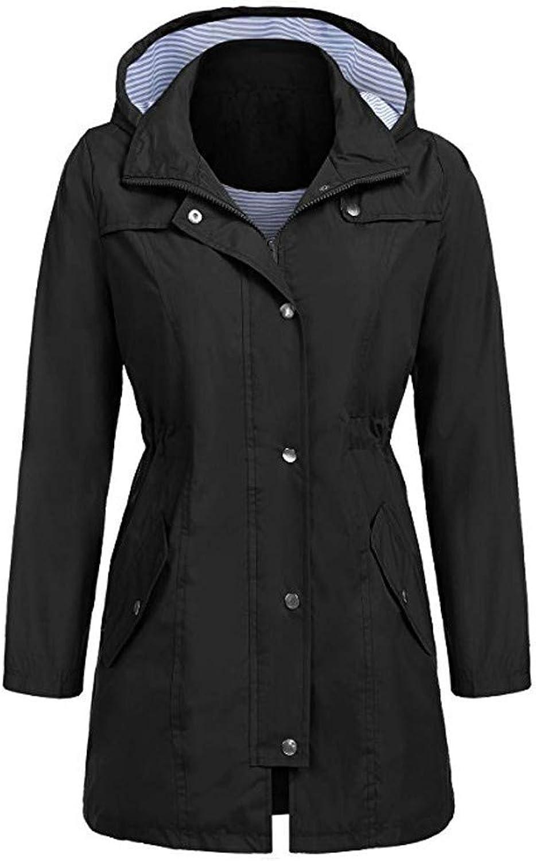 Women's Solid Raincoat Outdoor Hoodie Waterproof Hooded Jacket Windproof V Neck Regular Long Sleeve Zipper Button for Womens