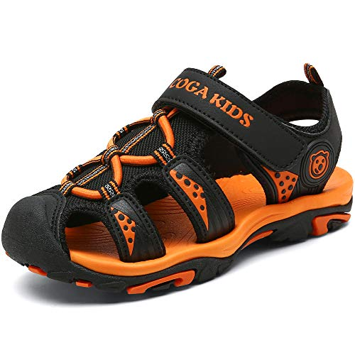 SAGUARO Kinder Geschlossene Sandalen Atmungsaktiv Strand Schuhe Sommer Trekking Schuhe Orange Schwarz Gr.32