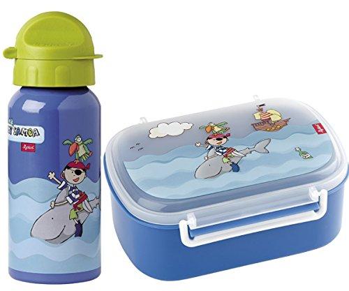 Sigikid Brotdose, Brotzeitbox Pirat Sammy Samoa und Trinkflasche 400 ml Geschenkset Kindergarten Schule Geschenkverpackung