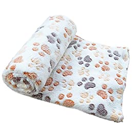 Malloom Warm Pet Cat Cushion Mat Small Large Paw Print Cat Dog Puppy Fleece Soft Blanket