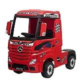 Devessport - Camión eléctrico para niños con Mando de Control Remoto - Mercedes Actros - Camión teledirigido con batería - Ideal para niños de 3 a 8 años (máximo 30 Kg) - 126x68x102 cm (Rojo)