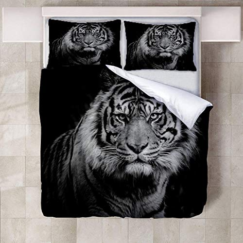JNBGYAPS 3D Effect Printed duvet cover White tiger Bedding set with Pillocases (with Zipper Closure) Soft Microfiber Quilt Cover Single200X200cm