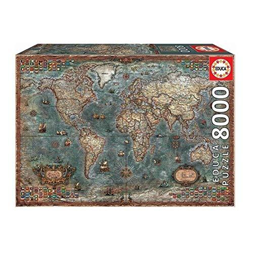 CXFRPU Puzzles 8000 Piezas De Regalo Educativo del Juguete for Adultos Papel descompresión Retro Rompecabezas del Mapa del Mundo de los niños