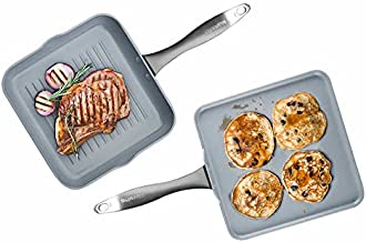 GreenPan Hard Anodized Non-Stick Ceramic Square 10 inch Grill Pan 11 inch Griddle Pan