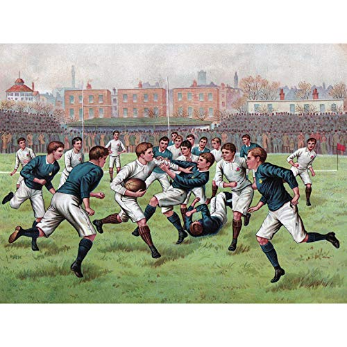 Scotland England 1893 Rugby Football Match Painting Large Print Poster Wall Art Decor Picture