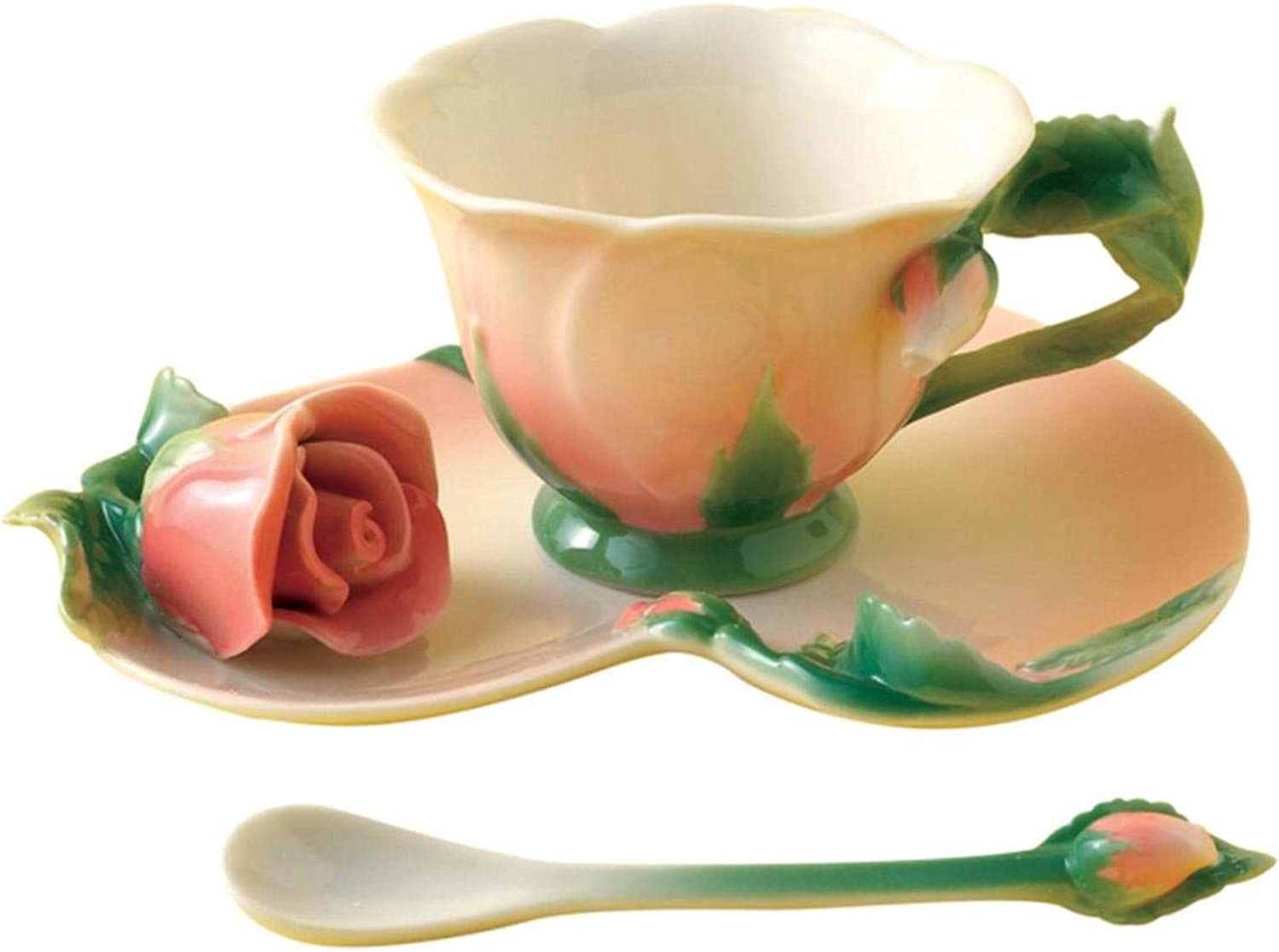Two's Company Garden Party pink Tea Set Cup Saucer Spoon
