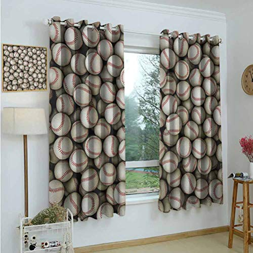 Gardome Window Curtains Sports,Realistic Softballs Pile American Natonal Sports Culture Team Play Game Competition,Beige Red,for Room Darkening Curtains Panels for Living Room,Bedroom 52'x63'