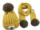 Wamvp Infantil bebé Sombrero y Bufandas de Punto otoño Invierno niños niñas Beanie Gorras Conjunto
