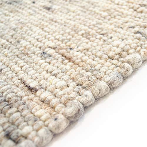 Hand-Web-Teppich Premium Gewalkt | Reine Schur-Wolle im Skandinavischen Design | Wohnzimmer Esszimmer Schlafzimmer Flur Läufer | Grau Beige (Düne gewalkt - 170 x 230 cm)