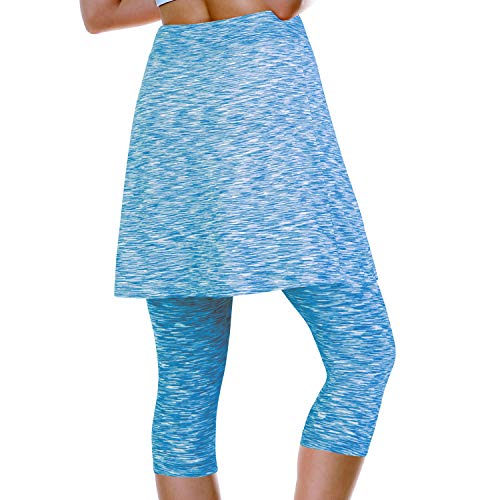 ANIVIVO Skirted Leggings for Women, Athletic Tennis Skirt Knee Length with Leggings Active Yoga Skirt Pockets Blue M