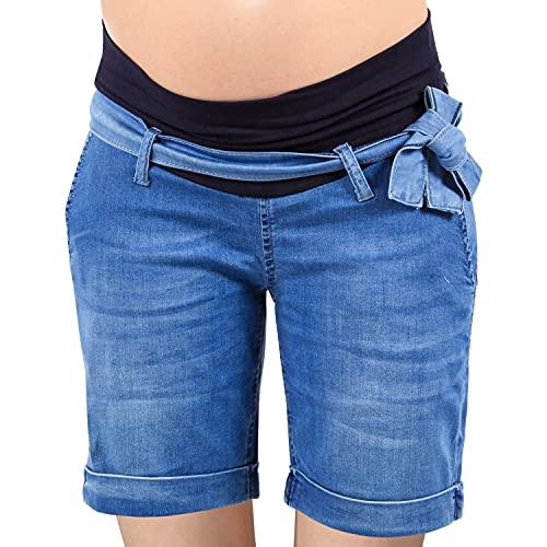 MAMAJEANS Gallipoli Chiaro - Shorts Premaman, Tessuto Jeans Leggero, Shorts Comodi con Fascia in Vita Cinta Inclusa - Made in Italy (S, Chiaro, s)
