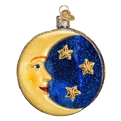 Old World Christmas Outer Space Gifts Glass Blown Ornaments for Christmas Tree Man on The Moon