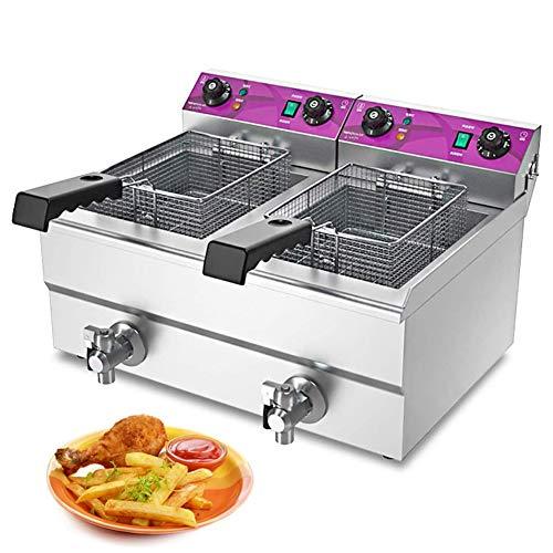 Royal Catering Freidora Eléctrica Doble Para Hostelería (2 * 13L,2 x 4800 W, Temporizador 60 Min, Temperatura: 50-200 °C) con Restaurante Comercial Basket y Timer