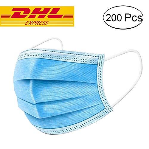200 Stücke Weich Disposable Mundschutz Maske 3-Lagig Masken Staubdicht Einwegesschutzmasken Atemmasken mit Ohrringe, Blau